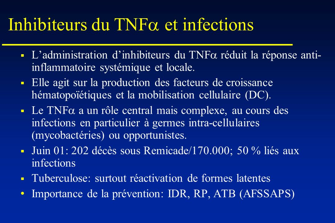 Inhibiteurs du TNFa et infections