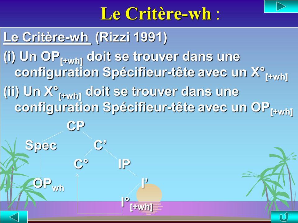 Le Critère-wh : Le Critère-wh (Rizzi 1991)