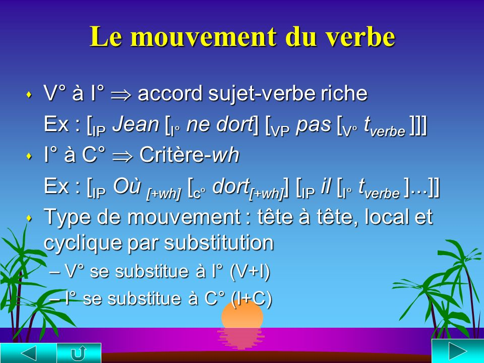 Le mouvement du verbe V° à I°  accord sujet-verbe riche