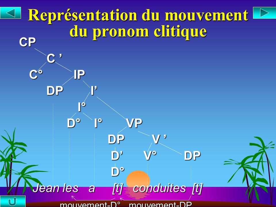 Représentation du mouvement du pronom clitique