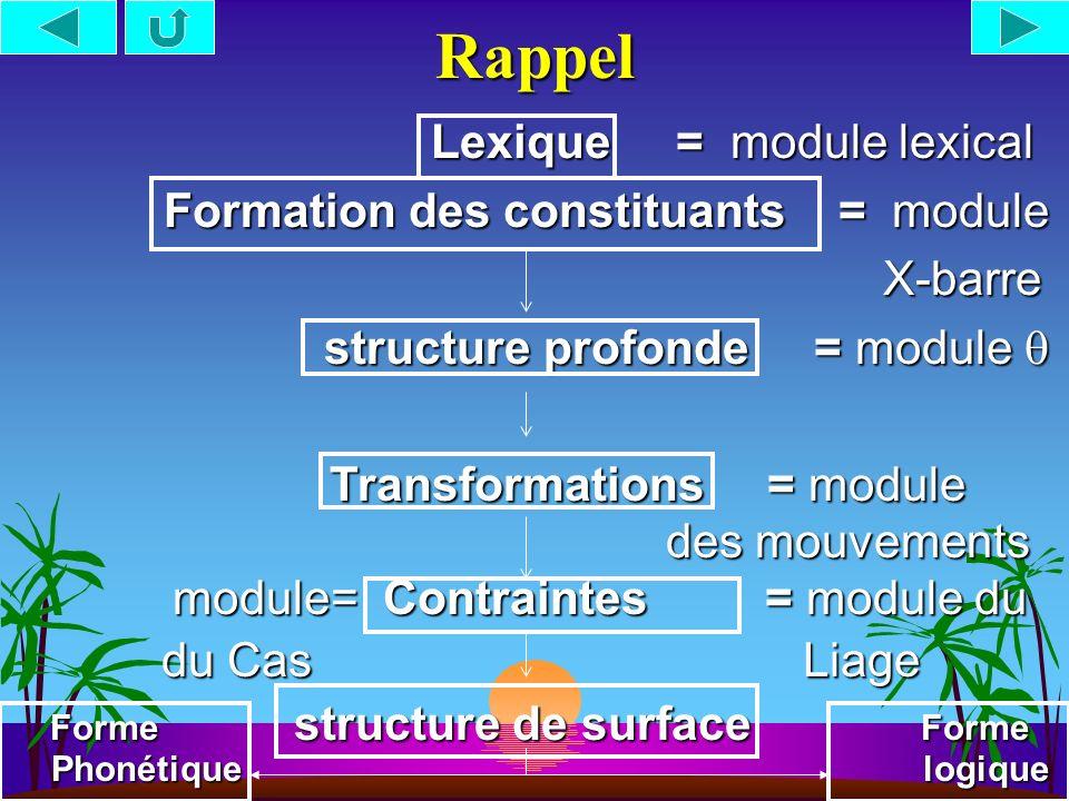Rappel Lexique = module lexical Formation des constituants = module