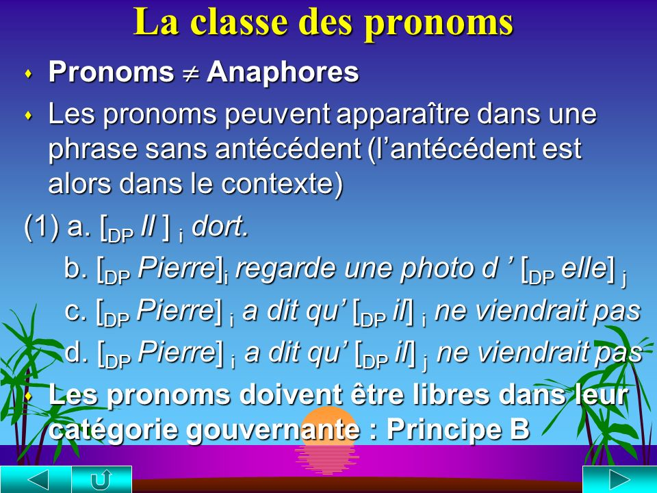 La classe des pronoms Pronoms  Anaphores