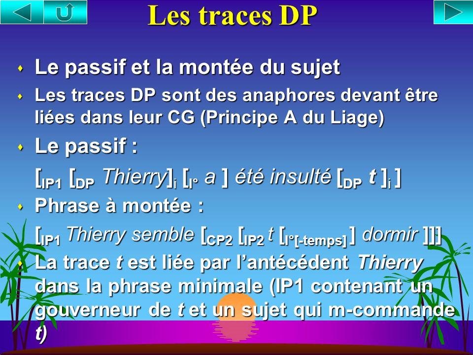 Les traces DP Le passif et la montée du sujet Le passif :