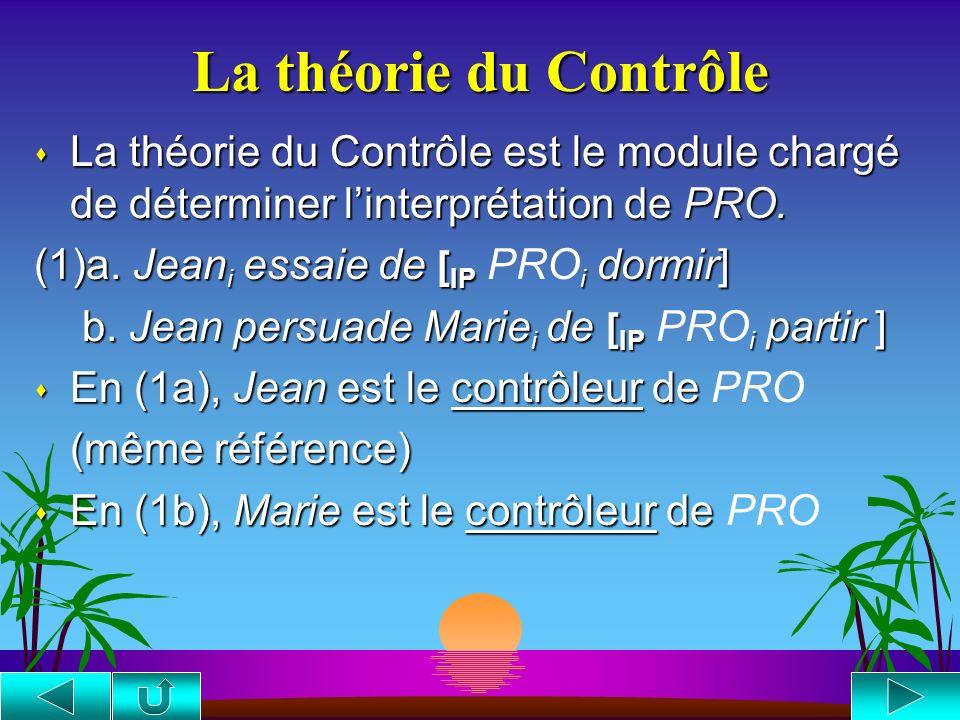 La théorie du Contrôle La théorie du Contrôle est le module chargé de déterminer l'interprétation de PRO.
