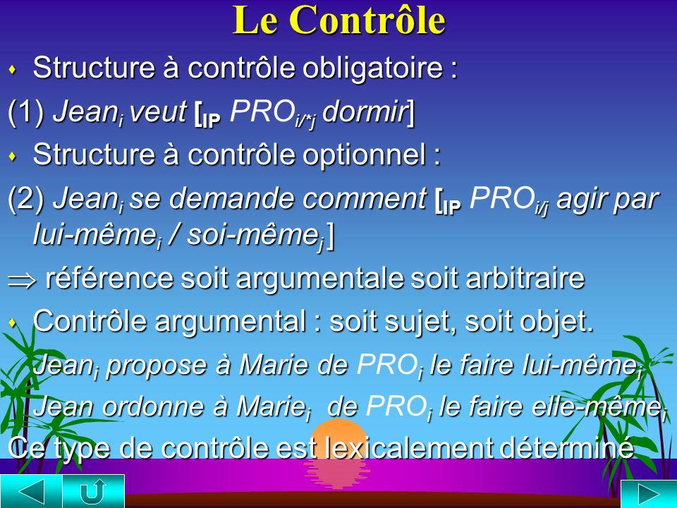 Le Contrôle Structure à contrôle obligatoire :