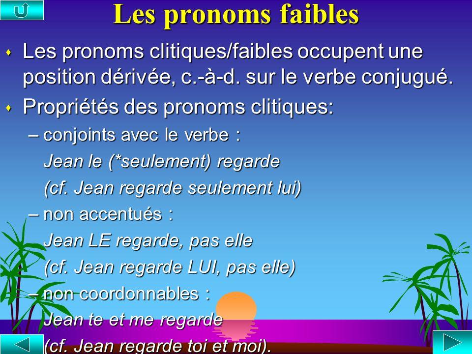 Les pronoms faibles Les pronoms clitiques/faibles occupent une position dérivée, c.-à-d. sur le verbe conjugué.