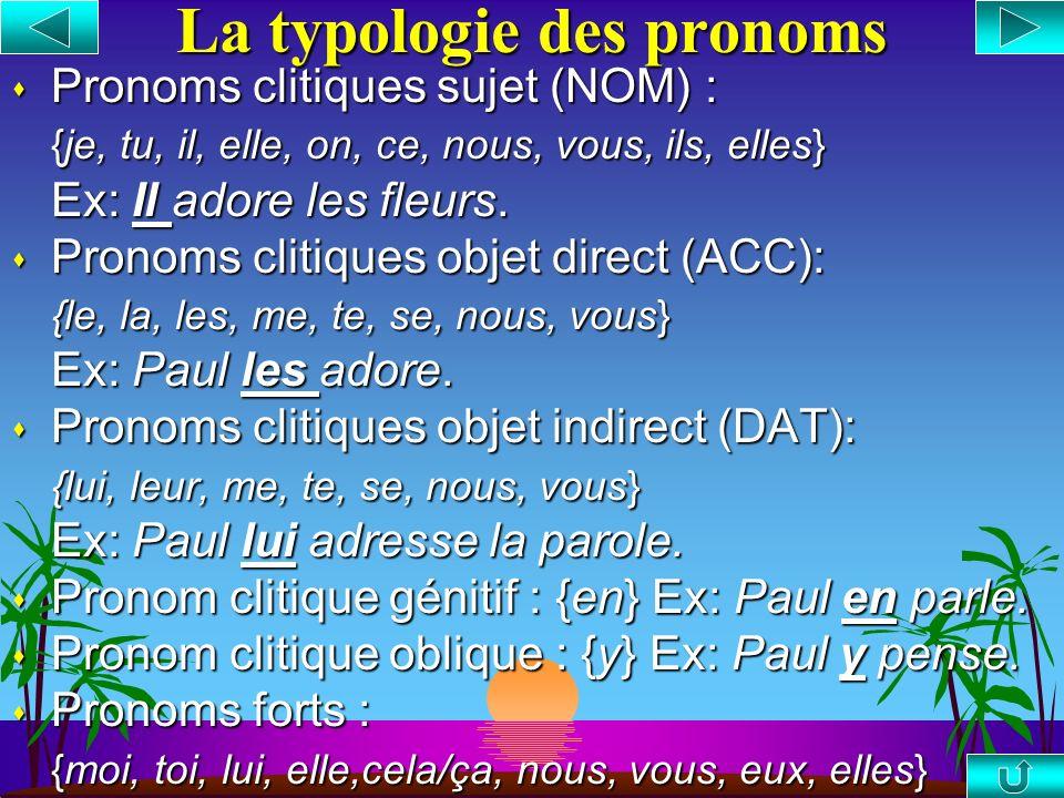 La typologie des pronoms