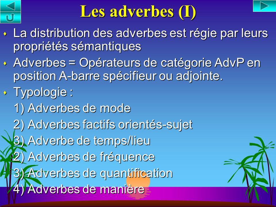 Les adverbes (I) La distribution des adverbes est régie par leurs propriétés sémantiques.