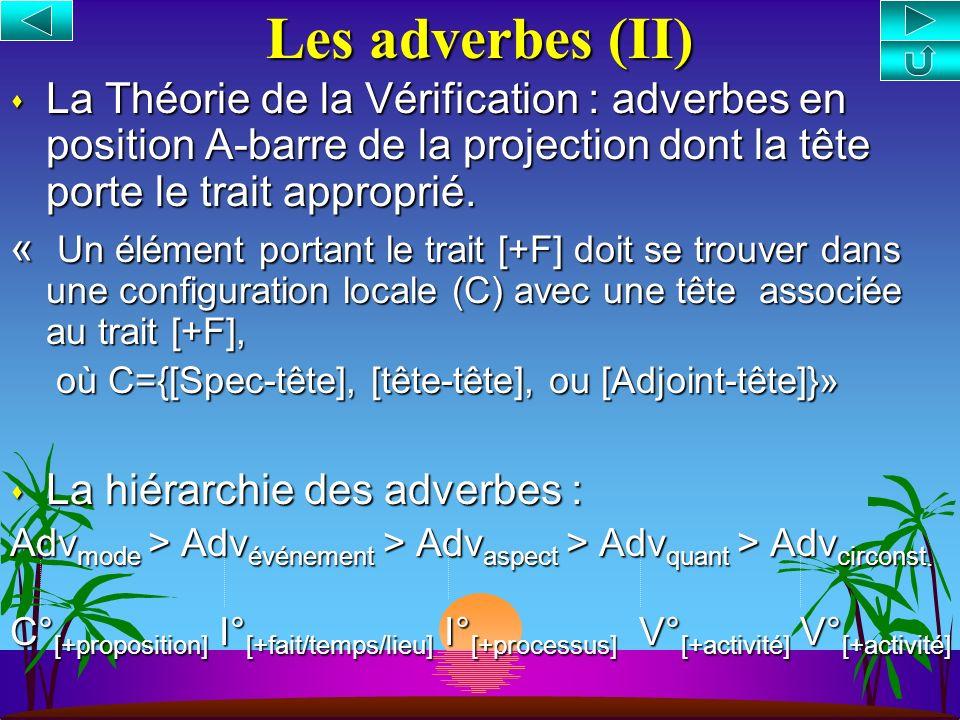 Les adverbes (II) La Théorie de la Vérification : adverbes en position A-barre de la projection dont la tête porte le trait approprié.