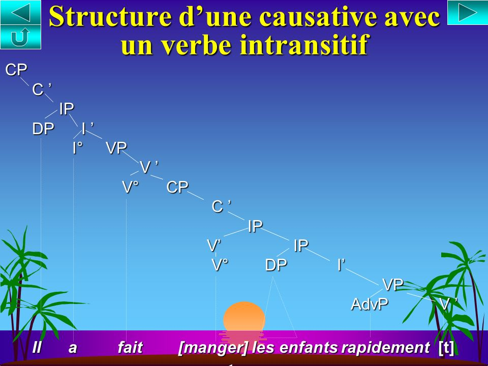 Structure d'une causative avec un verbe intransitif