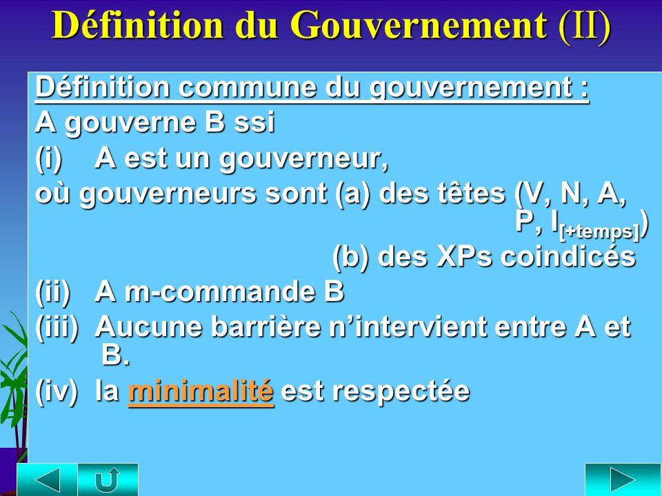 Définition du Gouvernement (II)