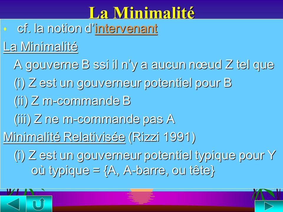 La Minimalité cf. la notion d'intervenant La Minimalité