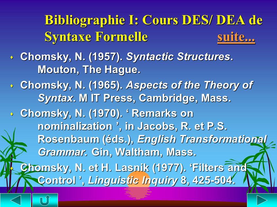 Bibliographie I: Cours DES/ DEA de Syntaxe Formelle suite...