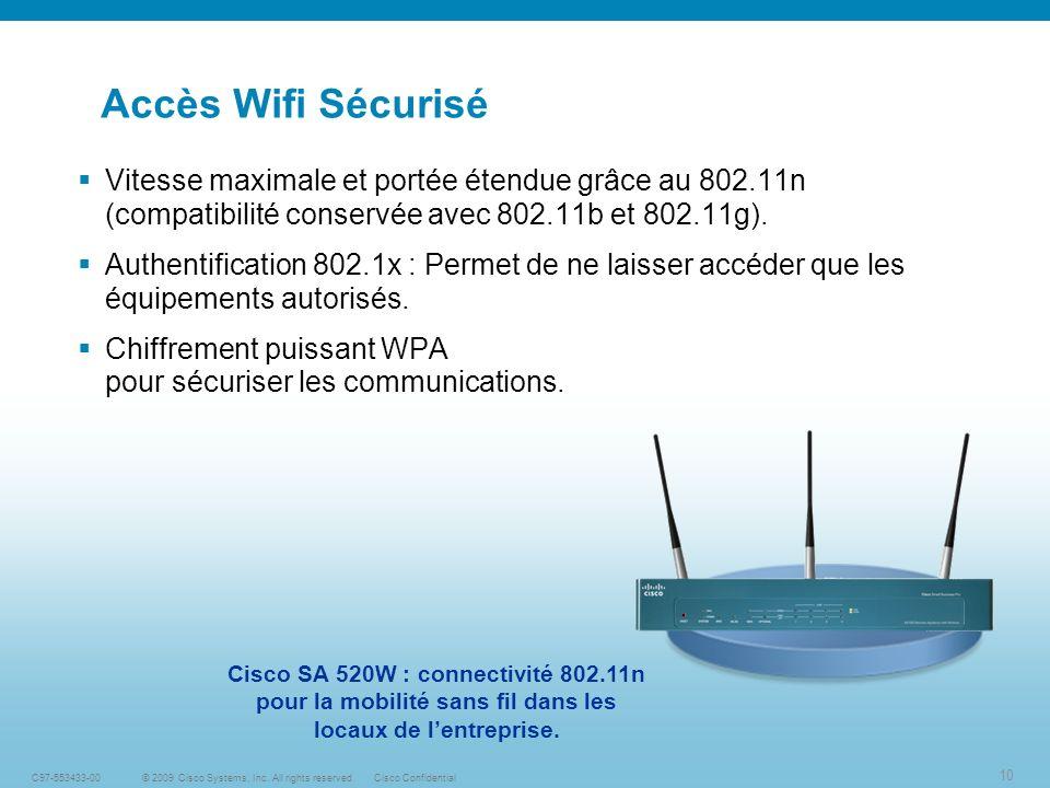 Accès Wifi Sécurisé Vitesse maximale et portée étendue grâce au 802.11n (compatibilité conservée avec 802.11b et 802.11g).