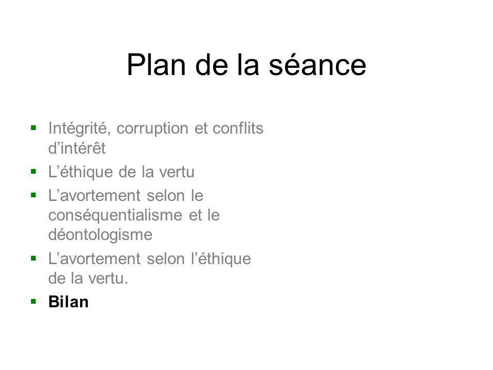 Plan de la séance Intégrité, corruption et conflits d'intérêt