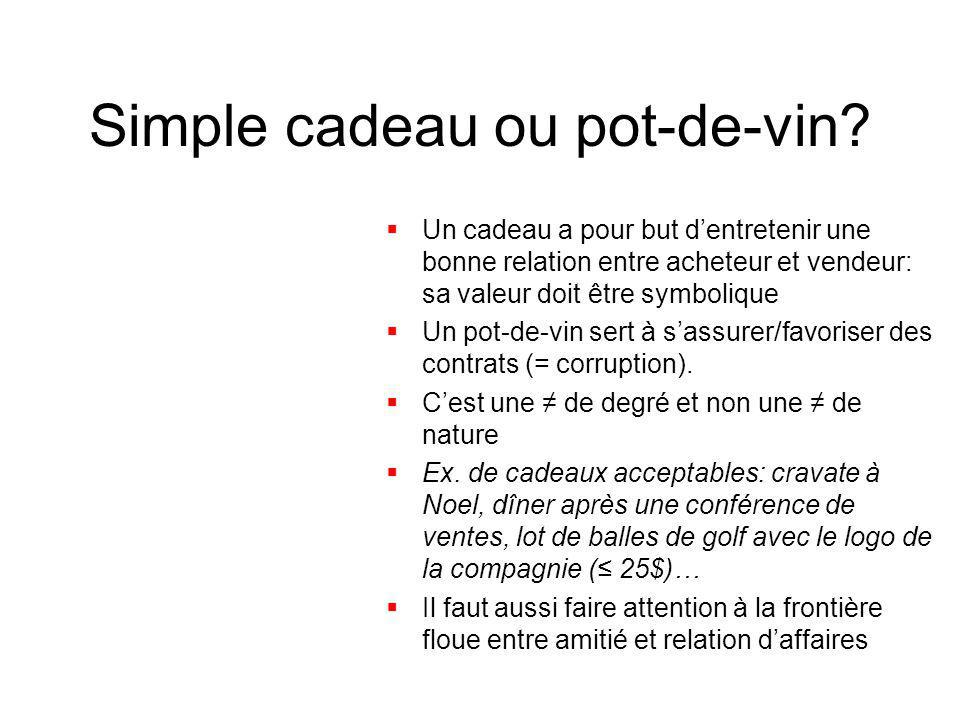 Simple cadeau ou pot-de-vin