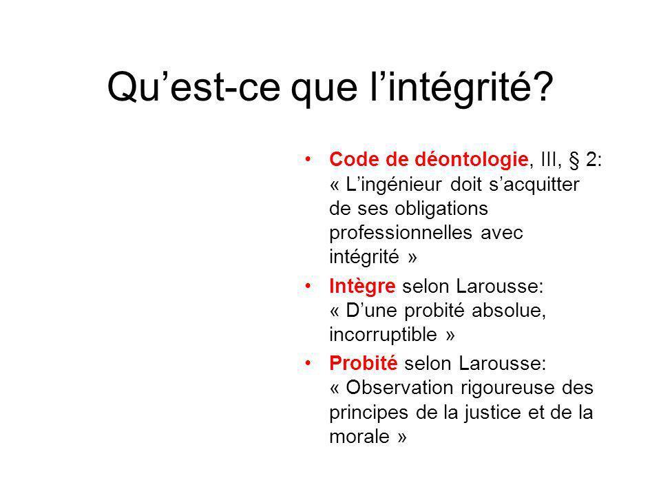Qu'est-ce que l'intégrité