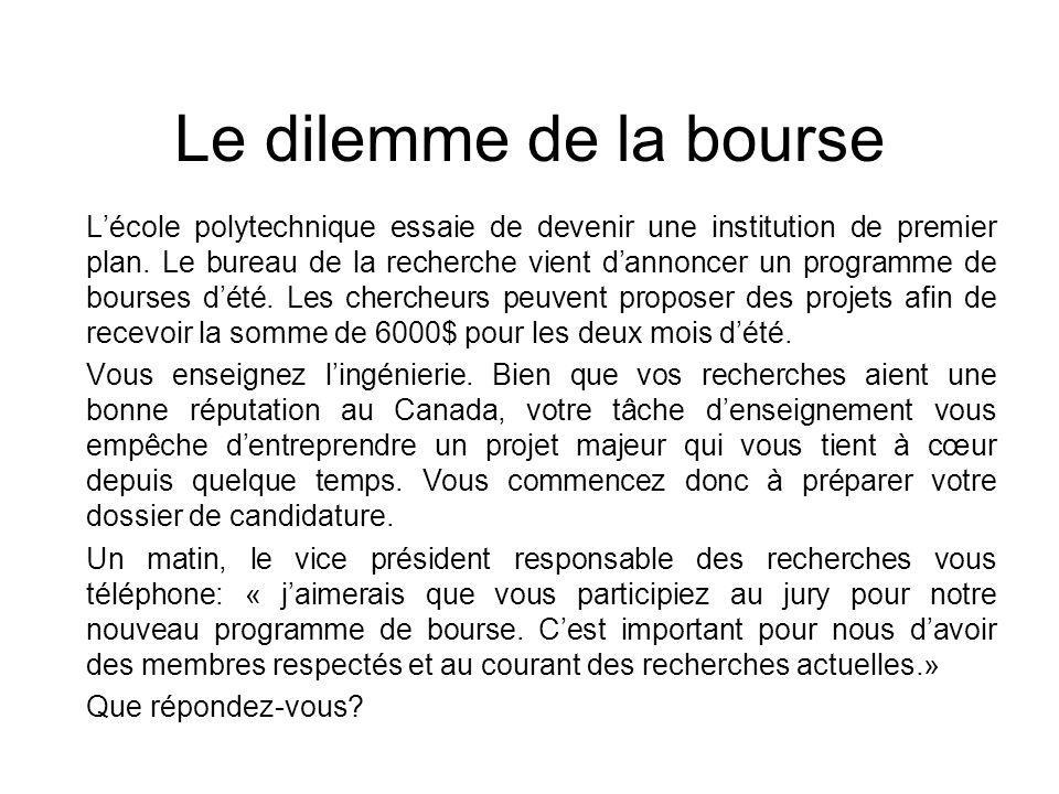 Le dilemme de la bourse