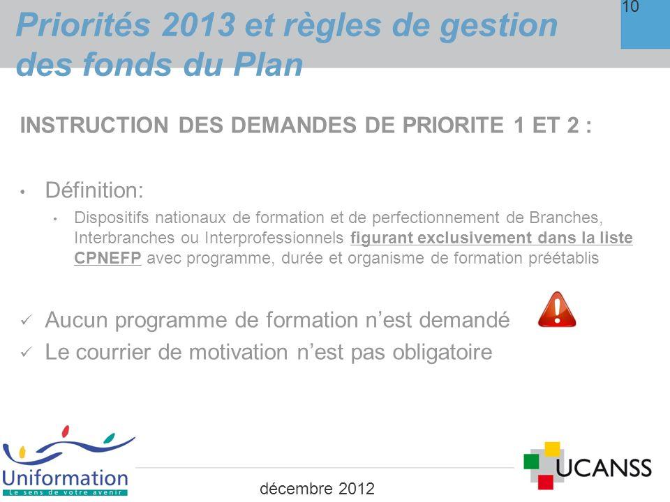 Priorités 2013 et règles de gestion des fonds du Plan
