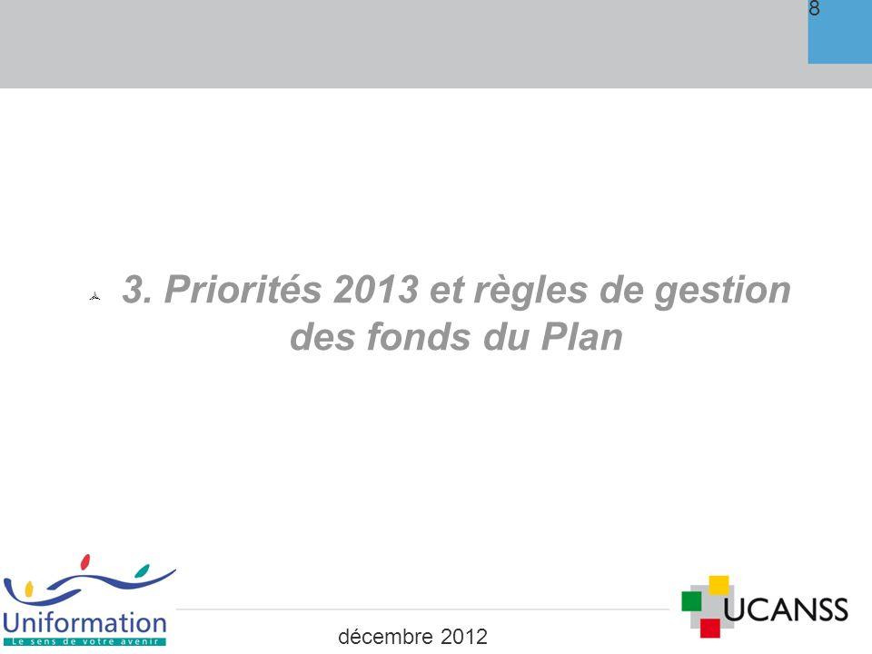3. Priorités 2013 et règles de gestion des fonds du Plan