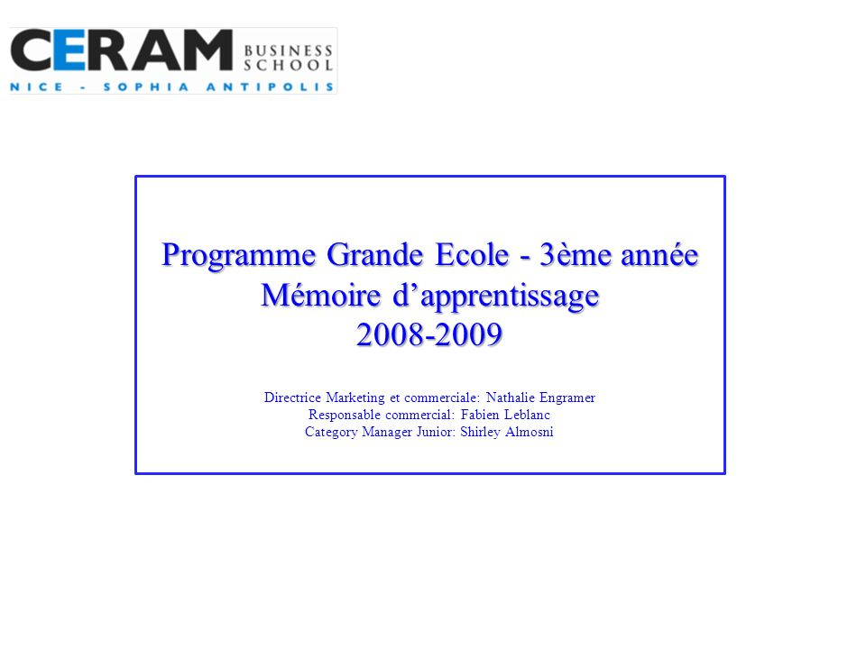 Programme Grande Ecole - 3ème année Mémoire d'apprentissage 2008-2009 Directrice Marketing et commerciale: Nathalie Engramer Responsable commercial: Fabien Leblanc Category Manager Junior: Shirley Almosni