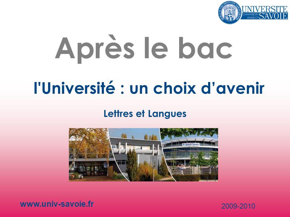 Après le bac l Université : un choix d'avenir Lettres et Langues