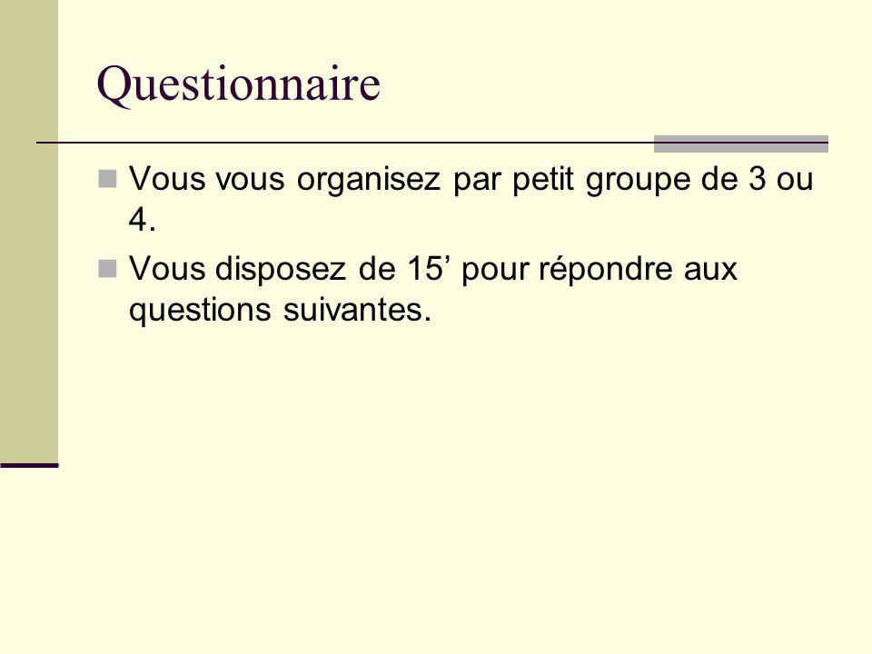 Questionnaire Vous vous organisez par petit groupe de 3 ou 4.