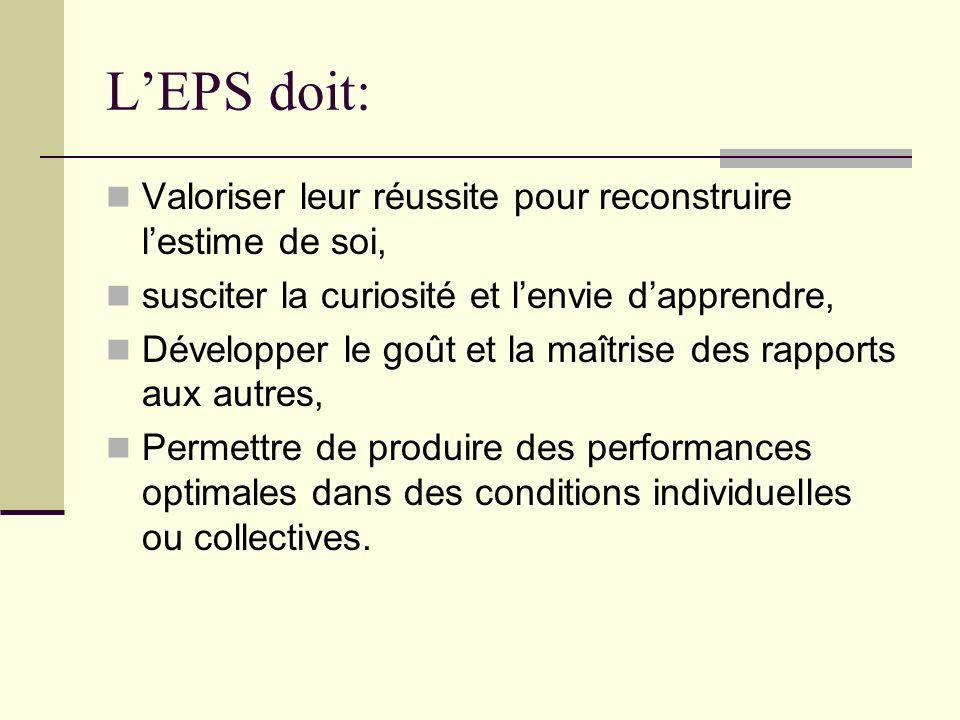 L'EPS doit: Valoriser leur réussite pour reconstruire l'estime de soi,