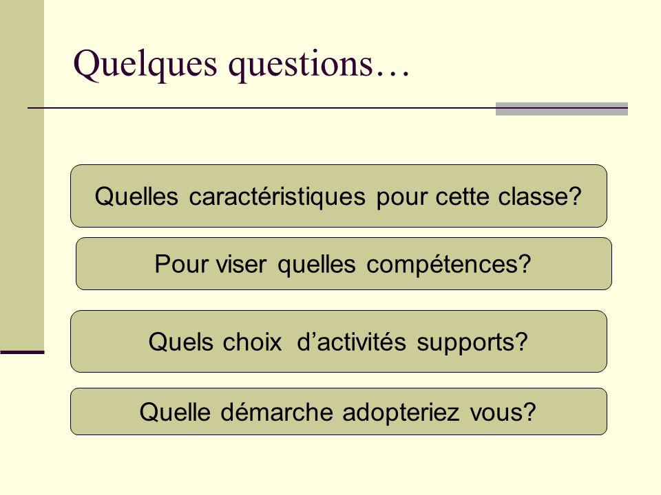 Quelques questions… Quelles caractéristiques pour cette classe