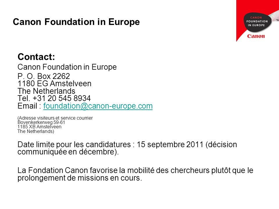 Canon Foundation in Europe