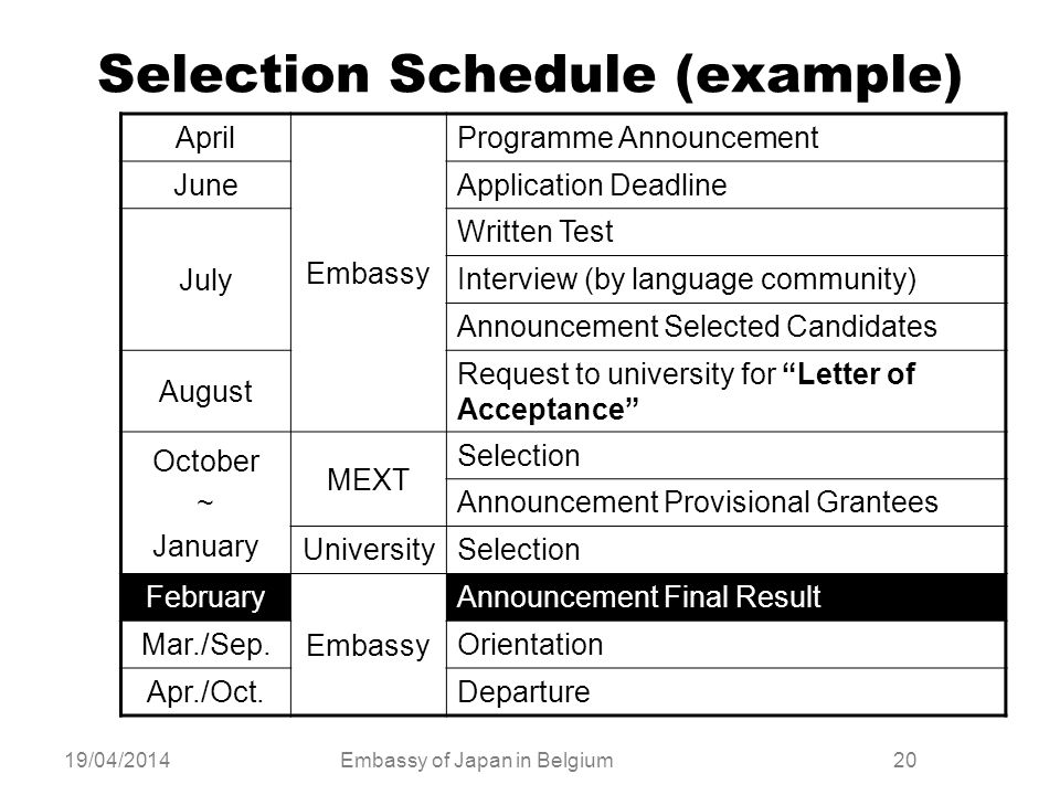 Selection Schedule (example)
