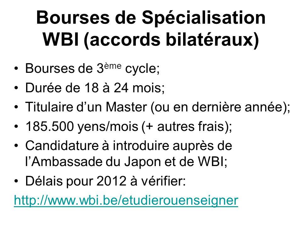Bourses de Spécialisation WBI (accords bilatéraux)