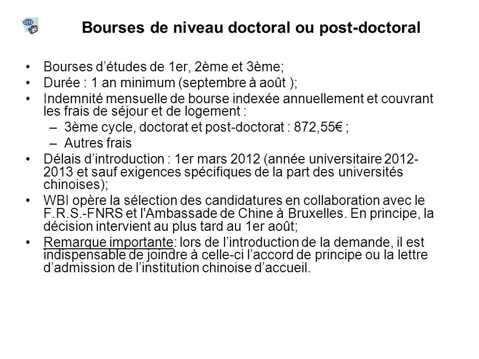 Bourses de niveau doctoral ou post-doctoral