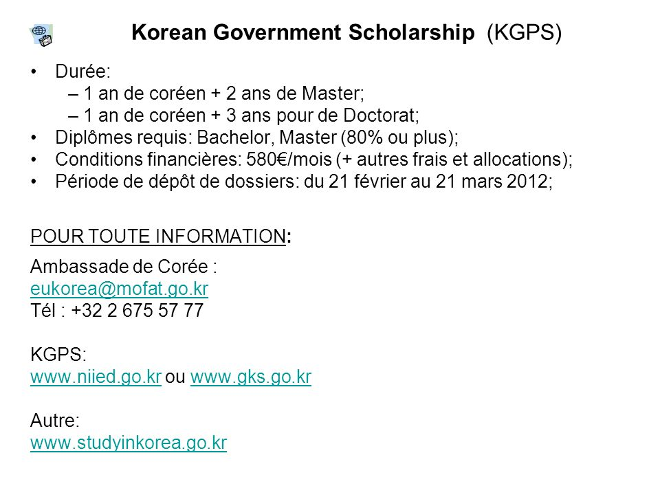 Korean Government Scholarship (KGPS)