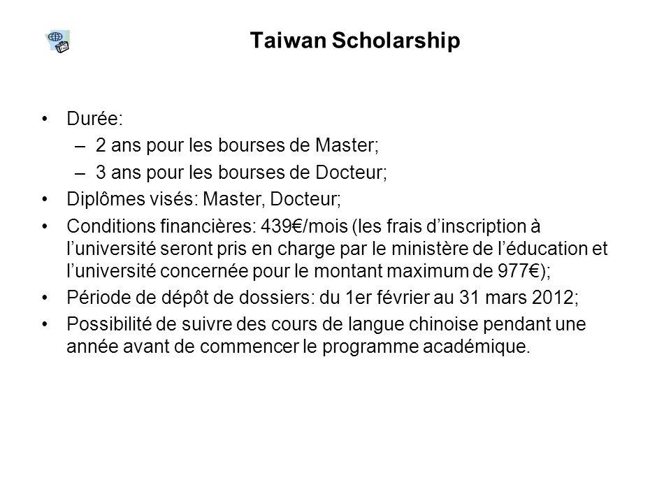 Taiwan Scholarship Durée: 2 ans pour les bourses de Master;