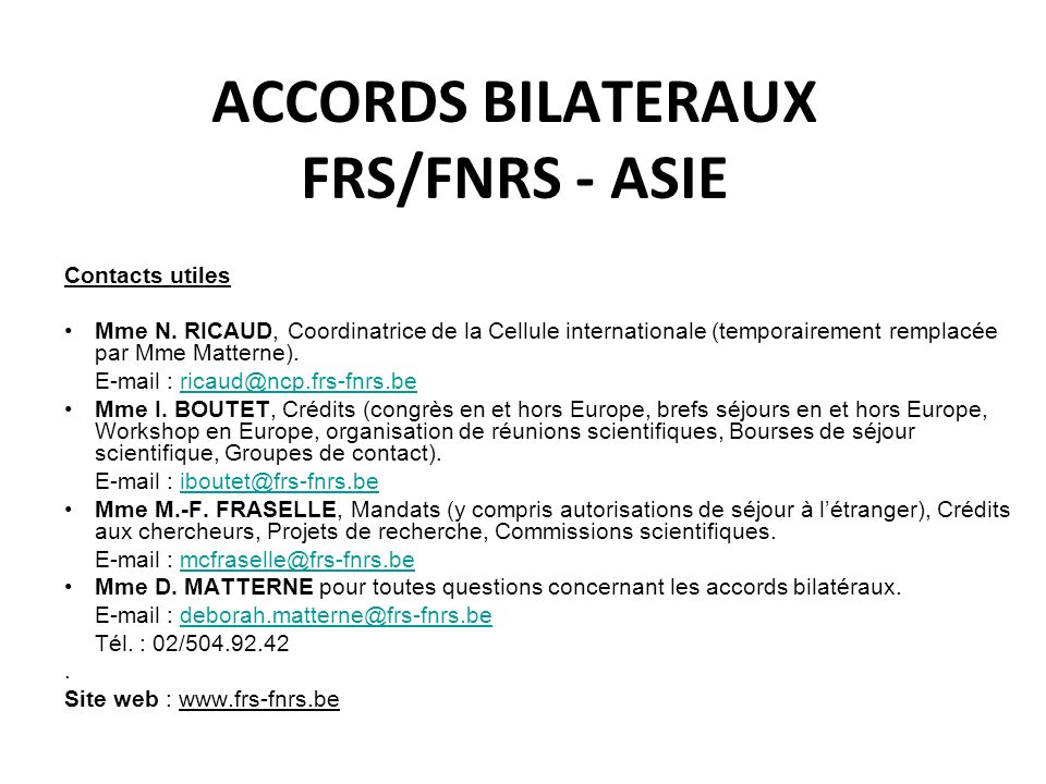 ACCORDS BILATERAUX FRS/FNRS - ASIE