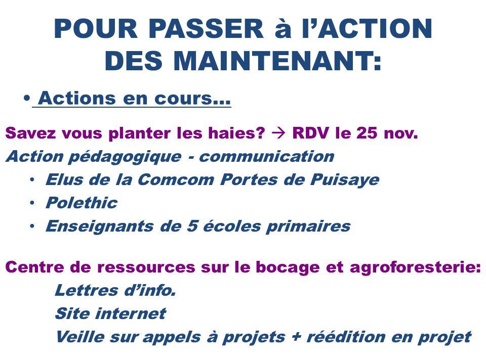 POUR PASSER à l'ACTION DES MAINTENANT: