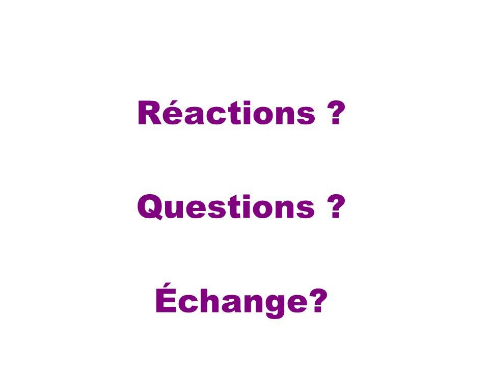 Réactions Questions Échange