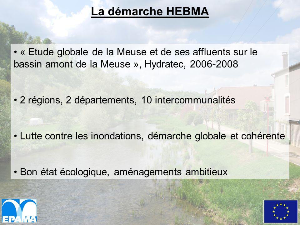 La démarche HEBMA « Etude globale de la Meuse et de ses affluents sur le bassin amont de la Meuse », Hydratec, 2006-2008.