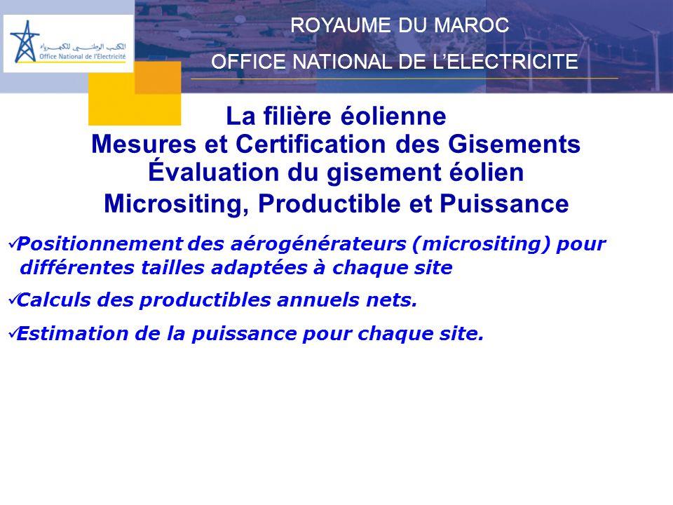 Évaluation du gisement éolien Micrositing, Productible et Puissance