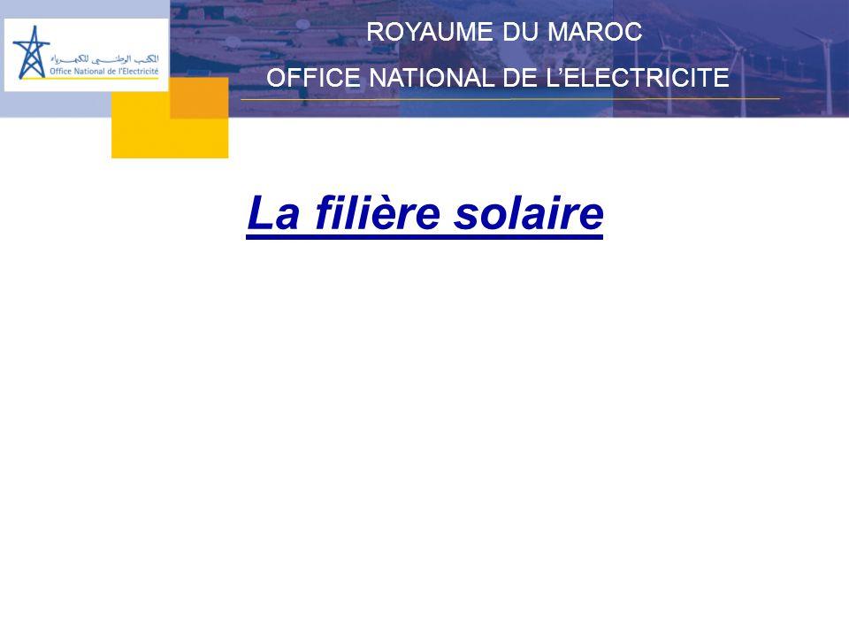 ROYAUME DU MAROC OFFICE NATIONAL DE L'ELECTRICITE La filière solaire