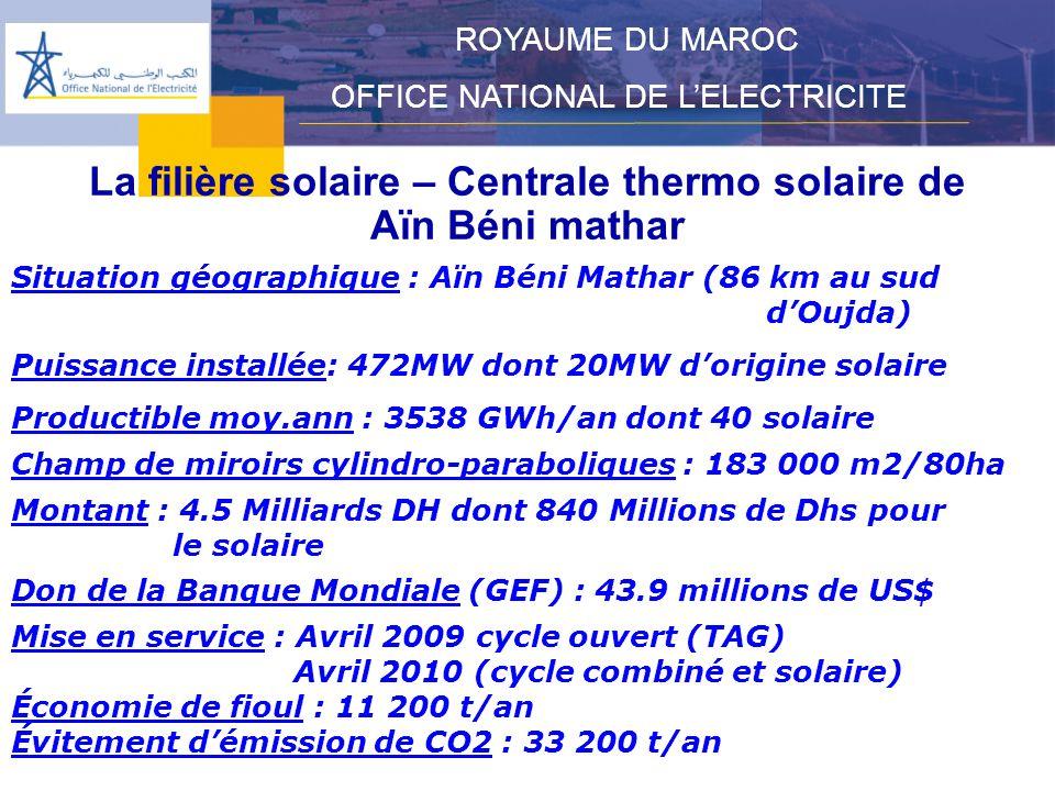 La filière solaire – Centrale thermo solaire de Aïn Béni mathar