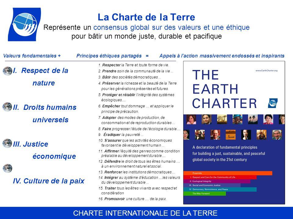 La Charte de la Terre Représente un consensus global sur des valeurs et une éthique pour bâtir un monde juste, durable et pacifique