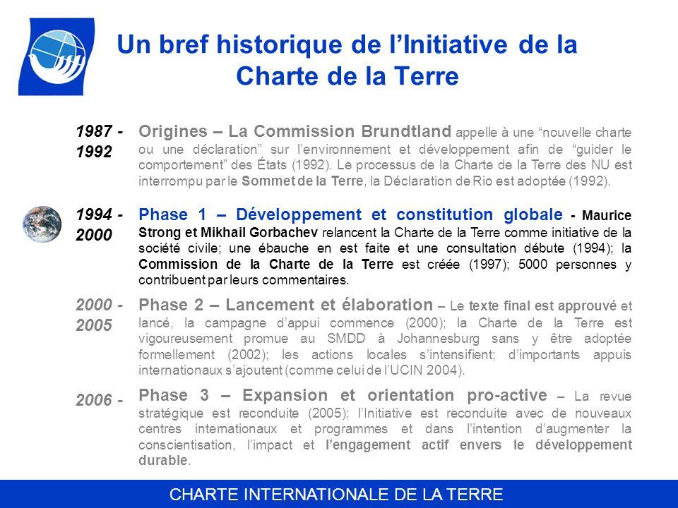 Un bref historique de l'Initiative de la Charte de la Terre