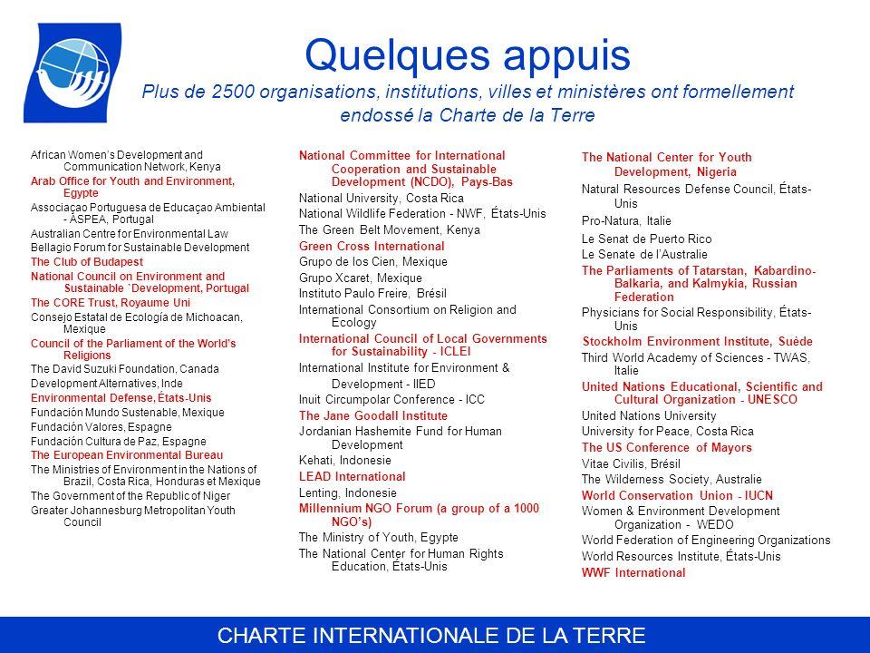 Quelques appuis Plus de 2500 organisations, institutions, villes et ministères ont formellement endossé la Charte de la Terre