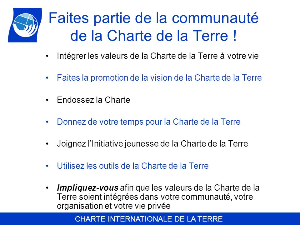 Faites partie de la communauté de la Charte de la Terre !