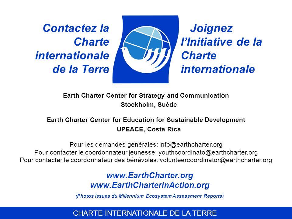 Contactez la Charte internationale de la Terre