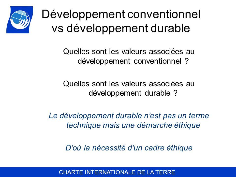 Développement conventionnel vs développement durable