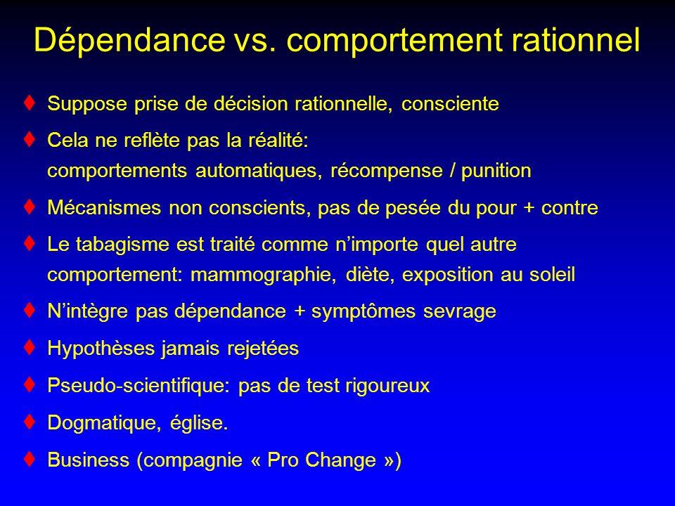 Dépendance vs. comportement rationnel