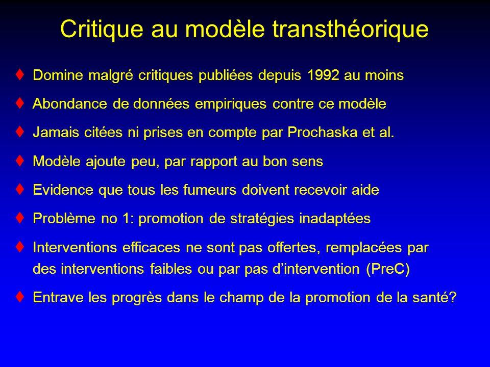 Critique au modèle transthéorique